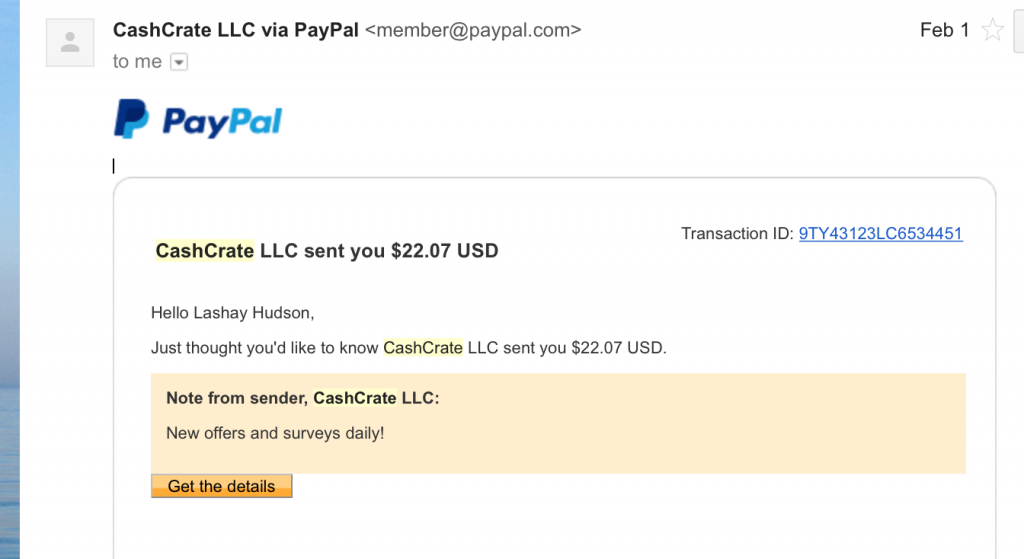Cash Crate Payment