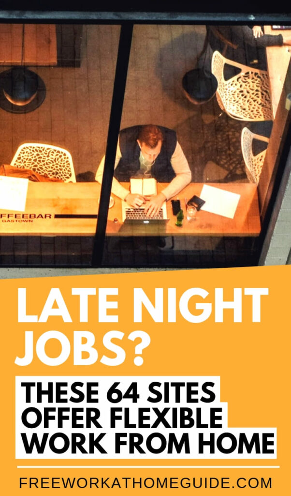 If you are looking to work late night from home, hese 64 companies will offer late night work at home jobs with the flexibility of making money on your own terms. #makemoney #onlinejobs #earnmoney